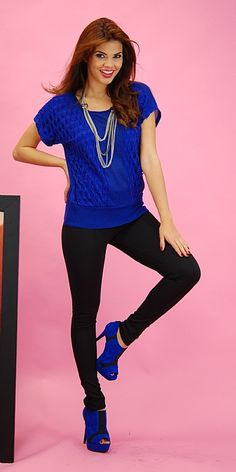 Blue Accent Trendy Outfit I would wear to work or a night out ;)