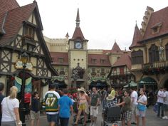 Germany - Epcot.  You MUST go to the chocolate shop here.  They have the BEST dark chocolate salted caramels EVER!