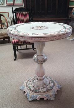 This beautiful ornate decorated Capodimonte ceramic pedestal table has just sold on ebay! Check out our remaining items at http://stores.shop.ebay.co.uk/retriques