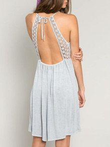 Grey Sleeveless With Lace Backless Dress