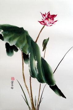 Lotus Blossom - Chinese Watercolor Painting on Rice Paper (27 x 18 inches; large)