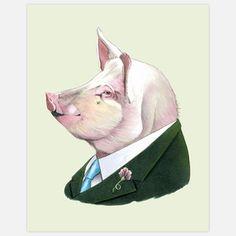 Berkley Illustration  Pig Print 11x14 now featured on Fab.
