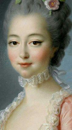 Lady portant une robe rose, François-Hubert Drouais Détail