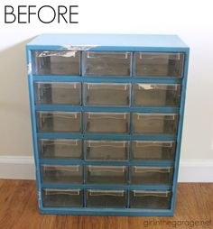BEFORE: Filthy to Fancy Organizer Makeover. A dirty hardware organizer gets . - BEFORE: Filthy to Fancy Organizer Makeover. A dirty hardware organizer gets a fancy French makeove - Craft Room Storage, Garage Storage, Diy Storage, Storage Organization, Storage Ideas, Jewelry Storage, Craft Rooms, Jewelry Organization, Studio Organization