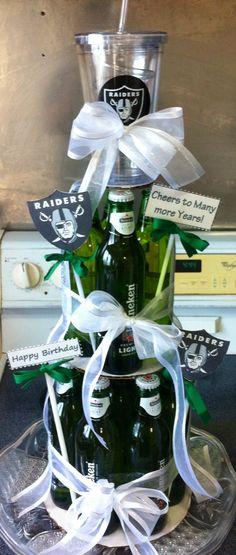Beer cake, pintrest inspired for the Heineken & Raiders lover. #birthdaygift #pintrestrocks