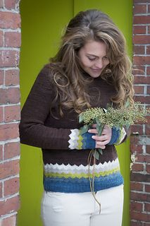 """Kaarina Pullover,"" by Isabel Kraemer, knit in Swans Island All American Sport."