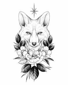 Fox Tattoo by killthedrummer on DeviantArt Fox Tattoo Design, Moon Tattoo Designs, Small Tattoo Designs, Fox Design, Art Drawings Sketches, Tattoo Sketches, Animal Drawings, Tattoo Drawings, Tattoo Pics
