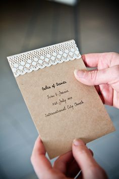 Kraft paper and lace = cute and cheap invitations