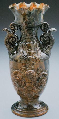 Roseville Pottery Blended Majolica Lions Head Jardiniere