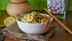 Receta de noodles con gambas al curry