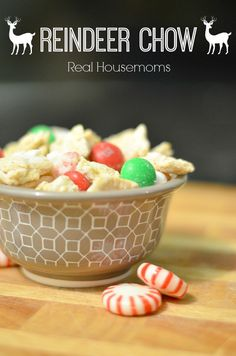 White chocolate, Chex cereal and holiday mint M&M's combine to make a super tasty Christmas dish for your little reindeer.