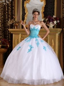 White and Blue Sweetheart Appliques Organza Quinceanera Dress - $188.65