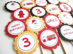 #Dalmatian, Fire Truck, Fire Hydrant #Cupcake Toppers, Personalized @adorebynat