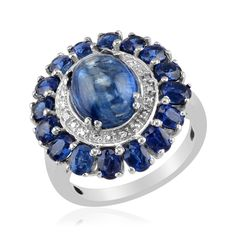 Liquidation Channel: Himalayan Kyanite and Diamond Ring in Platinum Overlay Sterling Silver (Nickel Free)