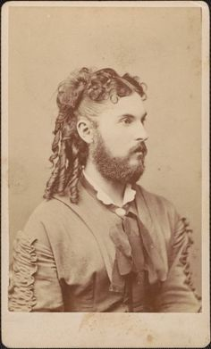 """[carte de visite portrait of a bearded lady], Wenderoth & Co. via Cornell University, """"Dawn's Early Light: The First 50 Years of American Photography"""" Exhibition Drag Queens, Vintage Pictures, Old Pictures, Family Pictures, Vintage Circus, Vintage Men, Photos Du, Old Photos, Bearded Lady"""
