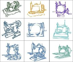 """Antique Sewing Machines"" includes linework  renditions of some of the finest and oldest sewing machines ever made. Quick to  stitch, yet detailed enough that you'll love using them for sewing room decor!"