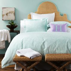 Zanzibar Bed Linens are imprinted with a wavy design in 2 colorways. Egyptian cotton percale. Flat and fitted sheet, duvet cover and shams. LuLu DK for Matouk. Made in the U.S.A.
