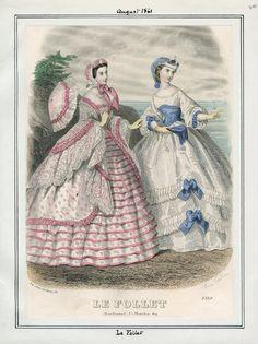Le Follet, August 1861. LAPL Visual Collections  Civil War Era Fashion Plate