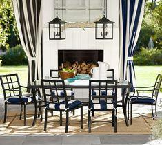 Tufted Sunbrella® Outdoor Dining Chair Cushion - Stripe