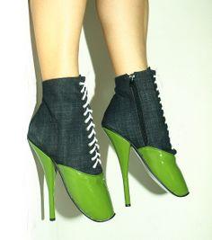Green-gray jeans-lack ballet boots http://www.obuwie-erotyczne.pl/item.html/id/4029995231
