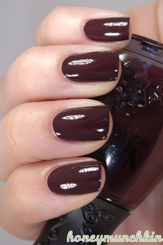 Oh 543 Nailpolish Dark Red Brown Nail Polish Swatch
