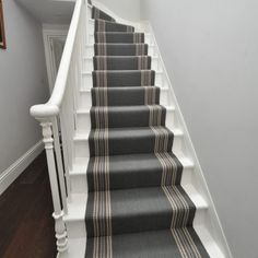 Brampton - Rhino Grey - Off The Loom Hallway Carpet Runners, Carpet Stairs, Stair Runners, Aspen House, Stair Decor, Magnolia Homes, Staircase Design, Interior Inspiration, Interior Ideas