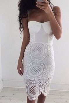 White Lace Cami Bodycon Dress