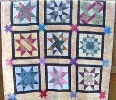 Sampler Quilt, Batik, Stars. $124.95, via Etsy.
