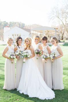 Neutral bridesmaids | Read More: http://www.stylemepretty.com/little-black-book-blog/2014/07/07/santa-monica-mountains-vineyard-wedding/ | Photography: One Eleven Photography - www.oneelevenphotography.com
