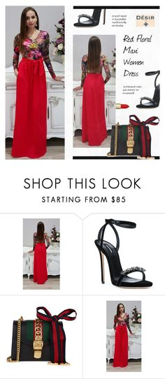 """""""1. DesirVale : Red Floral Maxi Women Dress V- Neck Long Sleeves Pockets Sash"""" by novalikarida ❤ liked on Polyvore featuring Dsquared2 and Gucci"""
