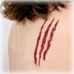 Adult Halloween Costume Accessories - Clawed Temporary Tattoo Horror Scratch Claw Mark - $5.00 on Etsy #Halloween #halloweencostumes #adulthalloweencostumes #halloweenmakeup #horror