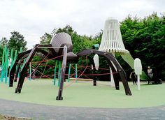 Part 5 of our collection of 10 Ridiculously Cool Playgrounds. There are some awesome adventures to be had in these crazy cool playgrounds for kids! Spider Legs, Giant Spider, Play Structures For Kids, Cool Playgrounds, Commercial Complex, Playground Design, Summer Special, Play Houses, Tree Houses