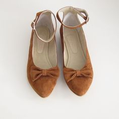 Image of Chica de canela & golden ponies Brown Suede leather ankle strap bow flat (free shipping)