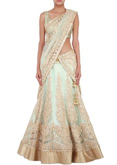 Mint lehenga enhanced in thread and sequin only on Kalki - Kalkifashion.com