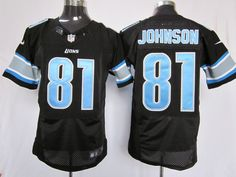 NFL Detroit Lions #81 Calvin Johnson Black Elite Jersey