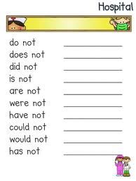 second grade contraction worksheets - Google Search | grammar ...