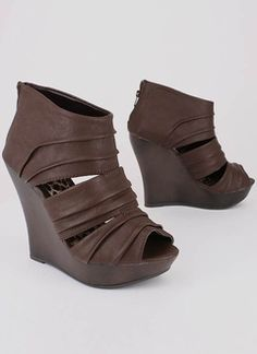 Cut-out leatherette bootie wedge - $30