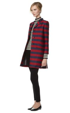 Chesterfield Overcoat In Rugby Stripe Jacquard by Thom Browne Now Available on Moda Operandi