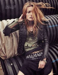 Dressed in Balmain. Reptile leather jacket? Intresting texture
