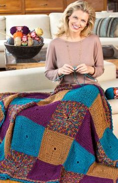 """""""Do-It-In Squares Throw"""" crochet blanket. Free pattern."""