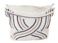 Bolsa Feminina grande - SAGGA off-white em couro legítimo, com enfiados a mão em couro contrastante.