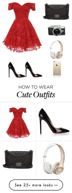 """""""Cute party outfit"""" by jillianannlee on Polyvore featuring Christian Louboutin, Chanel and FingerPrint Jewellry"""