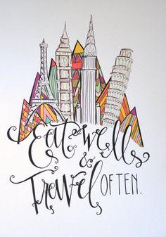 Eat Well & Travel Often Hand Lettered Illustration