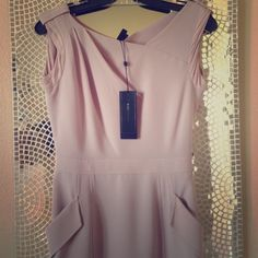 BCBG crepe asymmetrical dress Very soft and Elegant dress in mauve rose color with beautiful asymmetrical neckline. Two front pockets. Size zipper. Lined. Dry clean. Made of polyester and spandex. (No trading) BCBGMaxAzria Dresses Asymmetrical