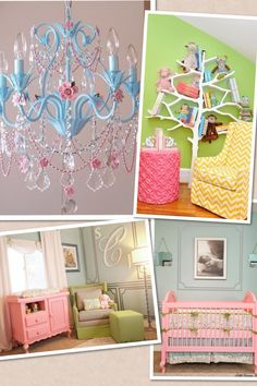 nursery. Blue, pink, green and yellow. love the colored furniture