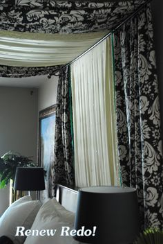 """ReNew ReDo!: Easy Bed Canopy ~ DIY ME- I like how it makes a """"headboard"""" and doesnt stick to the traditional canopy shapes"""