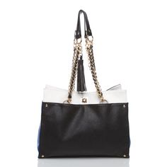 The pop of color on the side of this handbag makes it super fashionable and not just another black bag.