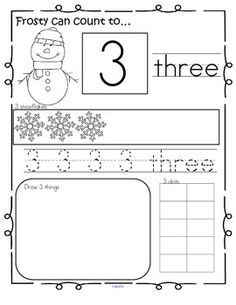 WINTER Theme Number Practice Pages 1-20. Recognize, read, count, trace, draw, fill 10-frame. 22 pages. $