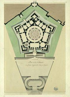 Villa Farnese - da Vignola architect - construction began 1559 - a pentagon constructed around a circular colonnaded courtyard