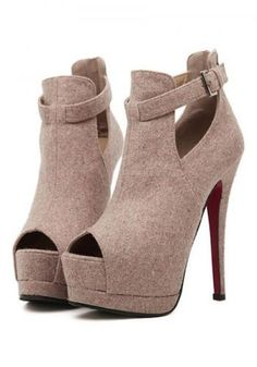 Women's club hollow out peep toe high heels-platforms